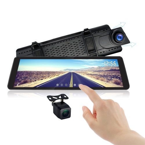 "Rearview Mirror With Dual Lens 1080P Dash Camera | 9.88"" TouchScreen Monitor 