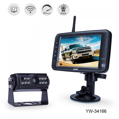 "Digital Wireless Backup Camera System with 4.3"" Single Monitor to Any Vehicle"